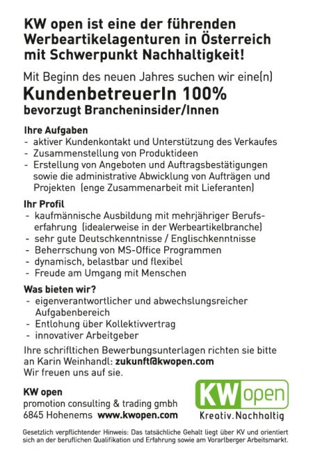 KW open Stelleninserat